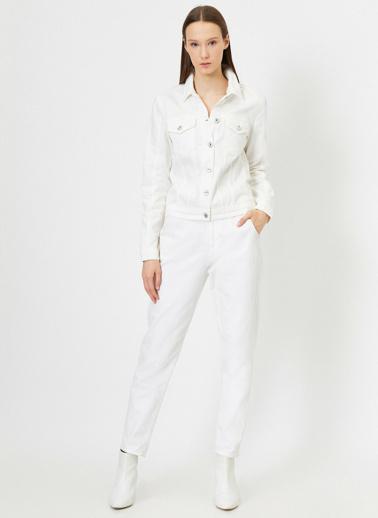 Koton Cep Detayli Jean Ceket Beyaz